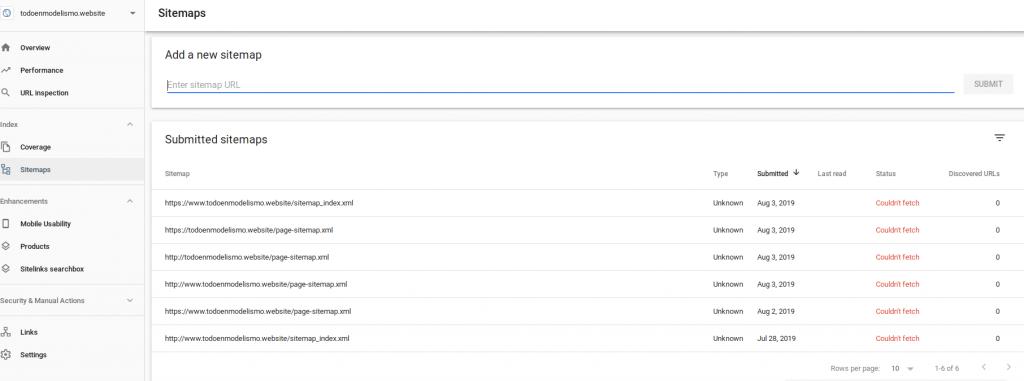 Vista de Google Search Console para Todo en Modelismo el 2019-08-05 en la pestaña sitemaps.
