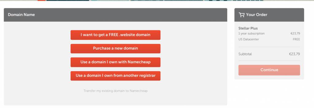 Pantalla de NameCheap con el menú para elegir el dominio principal.