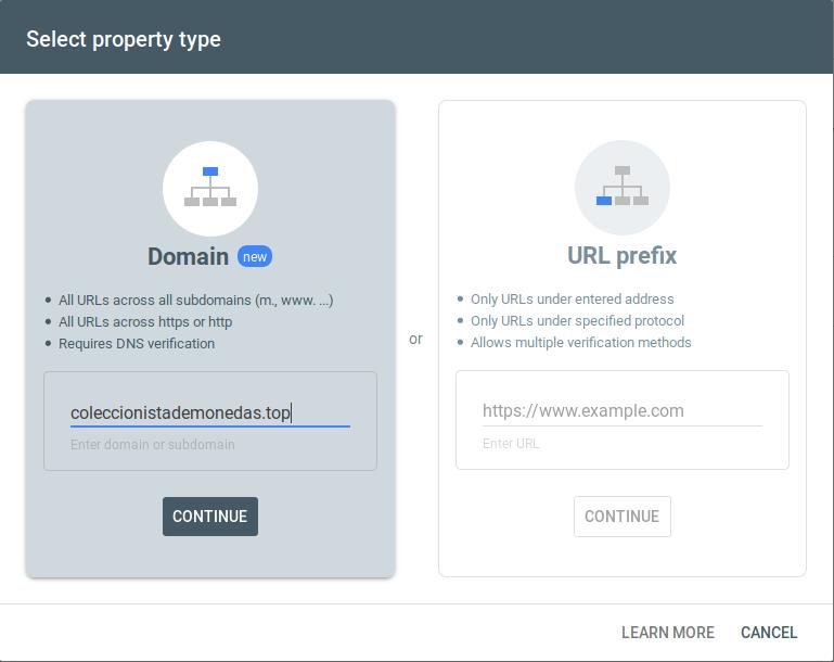 Vista de la ventana en la aplicación de Google Search Console para verificar la propiedad del dominio coleccionistademonedas.top