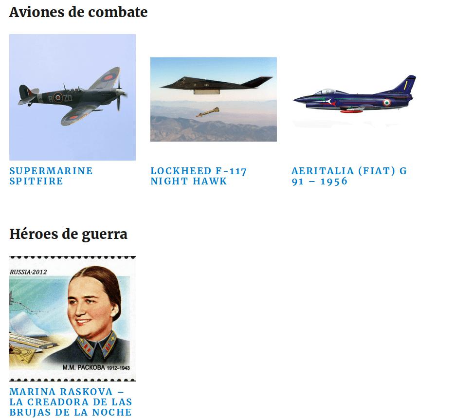 Captura de pantalla del apartado de blog de todoenmodelismo.website y que enseña cómo es la estructura de silo.