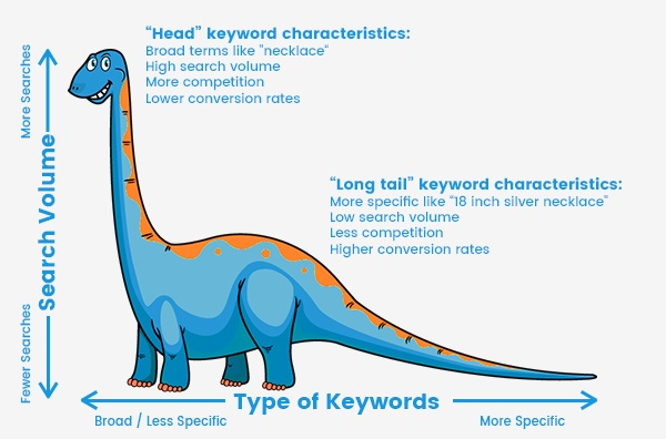 Típica imagen del dinosaurio de cola larga. La cabeza simboliza las palabras clave del nicho, muy difíciles de posicionar. A medida que avanzamos hacia la derecha, vamos especificando la búsqueda y las palabras se hacen más fáciles de posicionar.