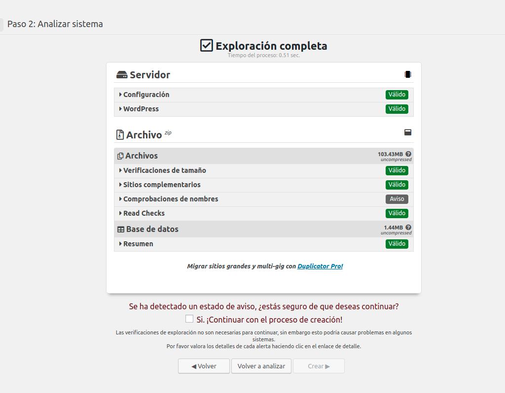 Vista previa a la replicación del WordPress antes de la migración a otro hosting