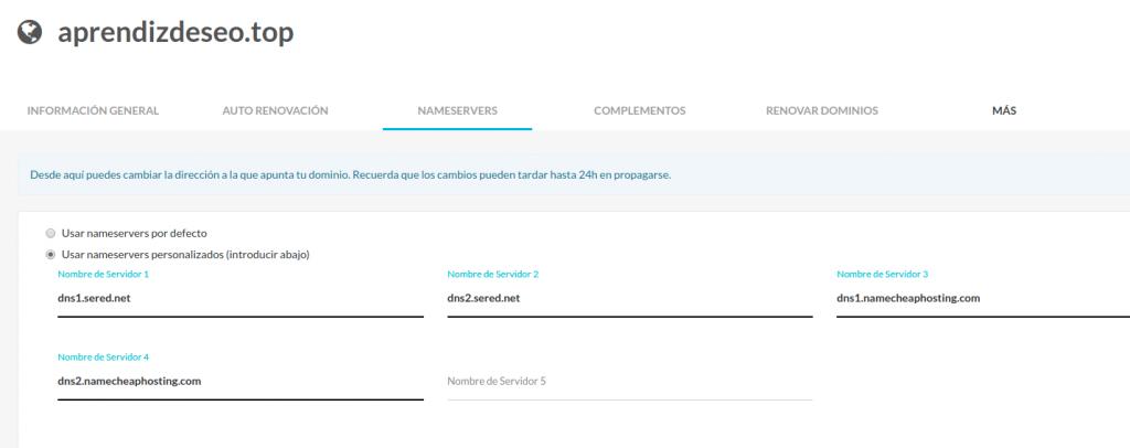 Configuración de los NameServers en el proveedor de dominio antiguo