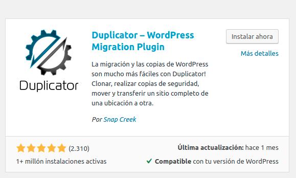 Imagen del plugin duplicator que hay que instalar desde el instalador de plugins de WordPress