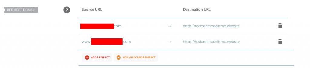 Pantalla que indica cómo redireccionar un dominio a otro en namecheap